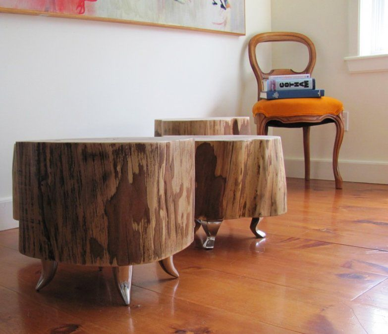 Furniture: Tree Stump Coffee Table With Wall Painting, Stump Side Table, Tree  Stump Chair