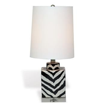 Kenya Modern Black And White Zebra Print Tea Jar Table Lamp  21 Inch