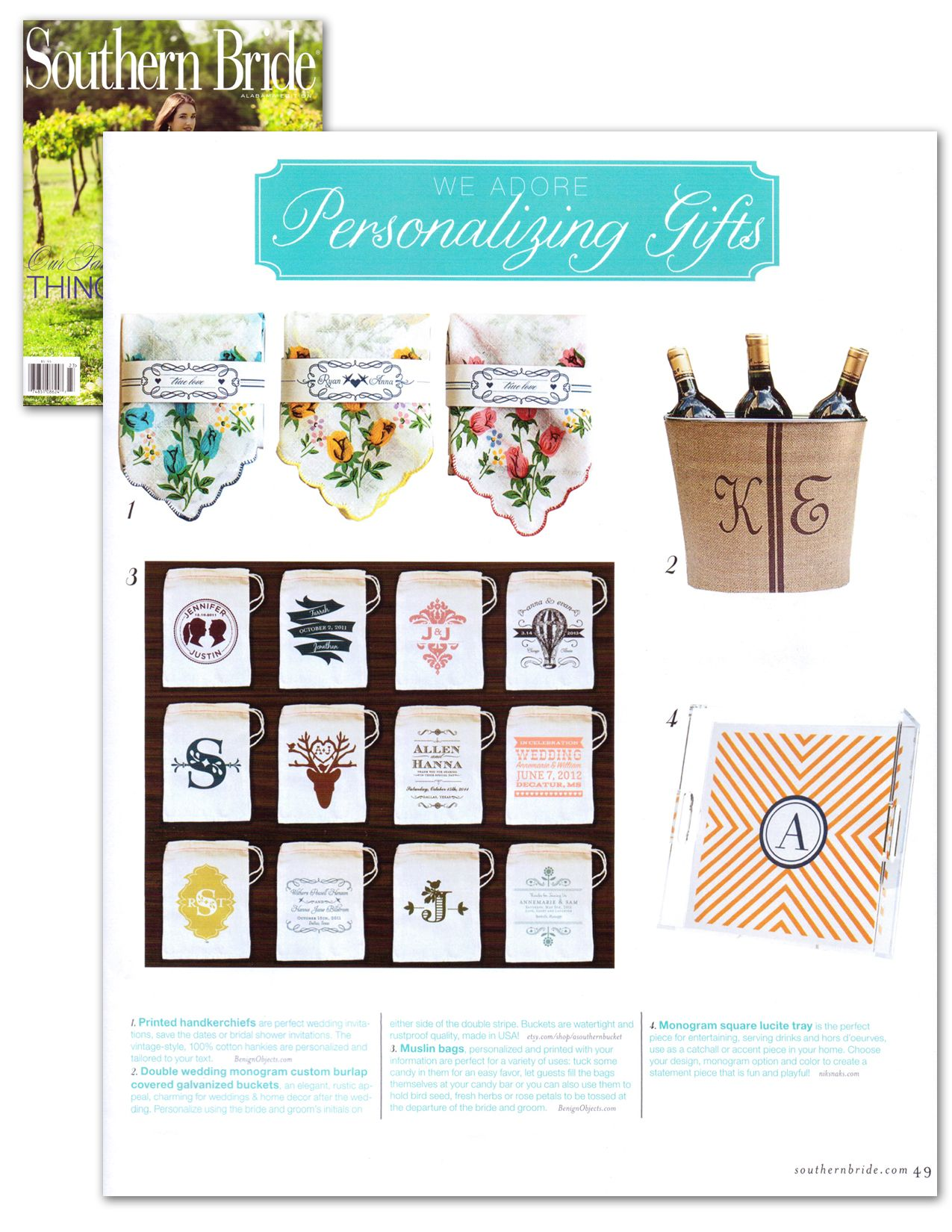 Hankies by @Rachel Wiles featured on @Southern Bride Magazine