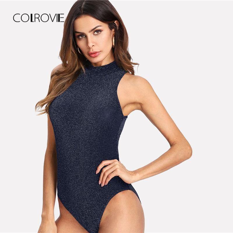 4b57cb330a COLROVIE Mock Neck Glitter Sexy Bodysuit 2018 New Summer Mid Waist  Sleeveless Skinny Women Clothes Navy Stretchy Skinny Bodysuit
