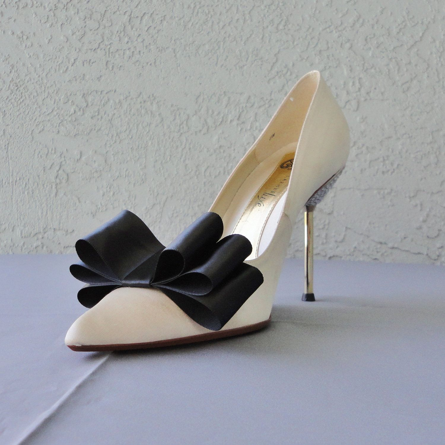 Black Satin Ribbon Bow Shoe Clips Set Of Two, More Colors Available.