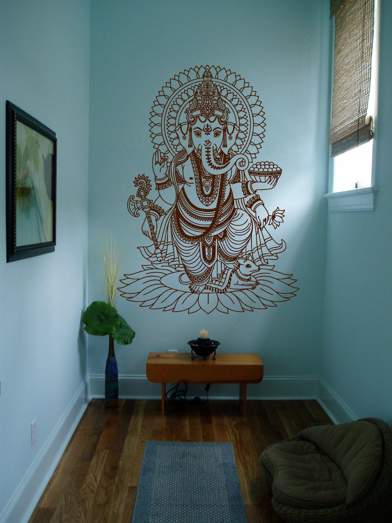 ik430 wall decal sticker room decor wall art mural indian god om elephant hindu success buddha. Black Bedroom Furniture Sets. Home Design Ideas