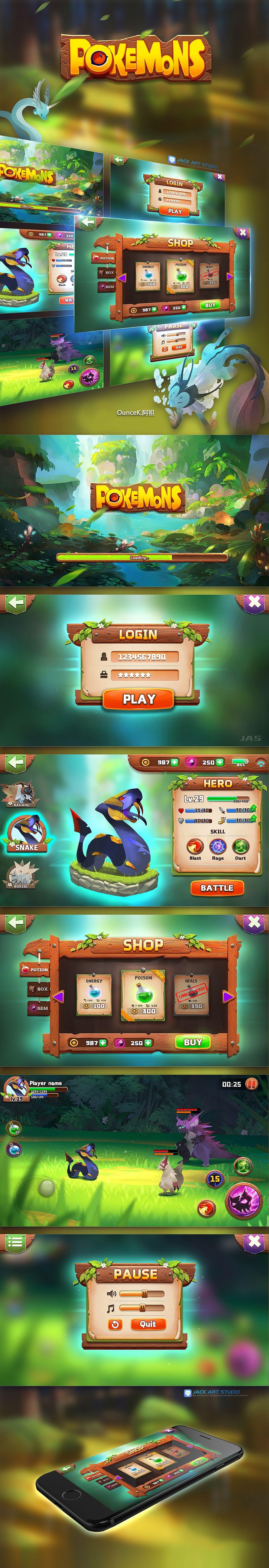 游戏ui 界面 创意 交互设计 广告 原画 游戏设计gui art design- JACK UIUX
