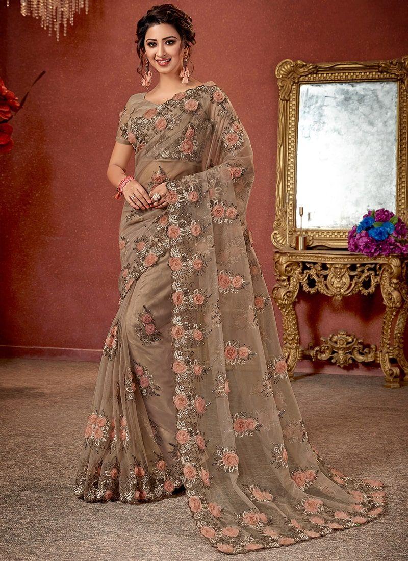 Beige Net Flower Embroidered Wedding Saree Saree Designs Party Wear Sarees Elegant Saree