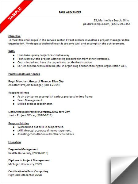 Project Resume Example Project Manager Resume Sample  Resume Examples  Pinterest .