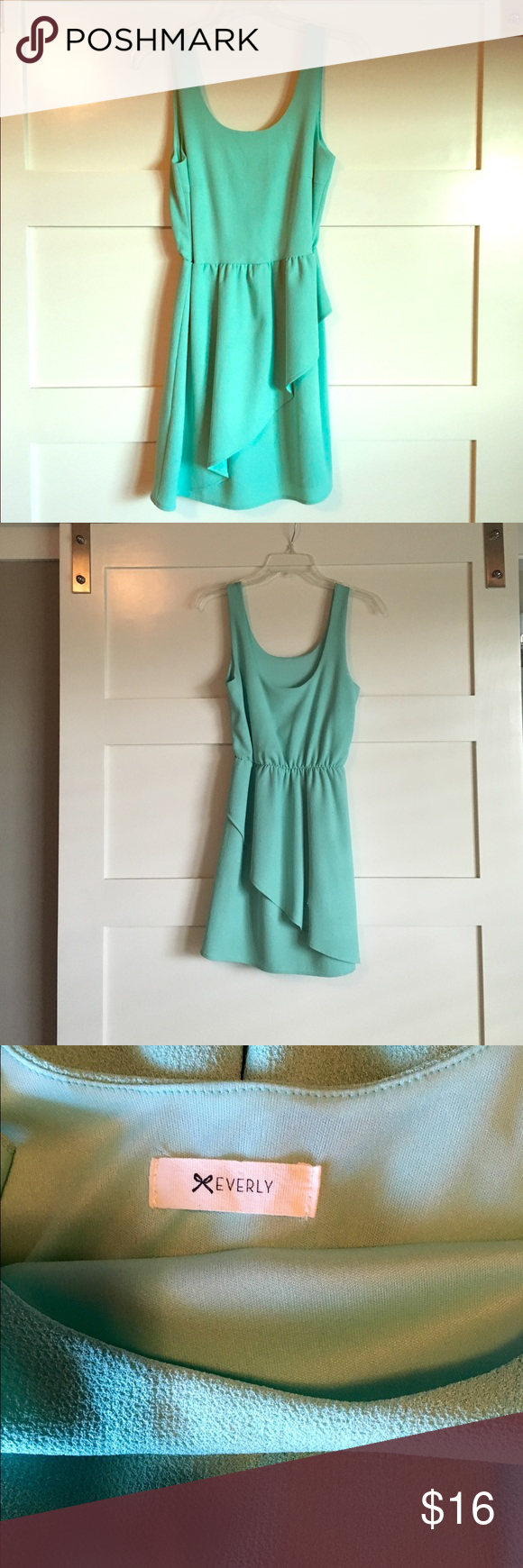 Peplum dress Very flattering peplum dress! It's in great condition except there are a few snags (last picture). 100% polyester. Mint green/bluish color. Everly Dresses Mini