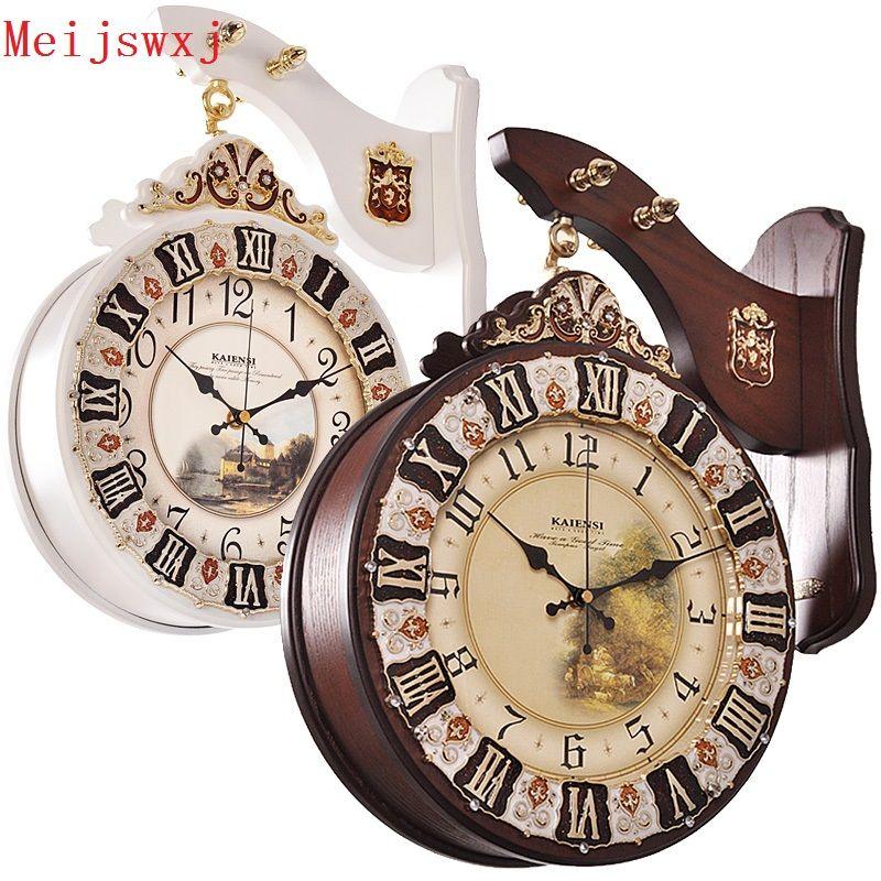 meijswxj doublesided wall clock saat reloj clock relogio de parede duvar saati retro wood