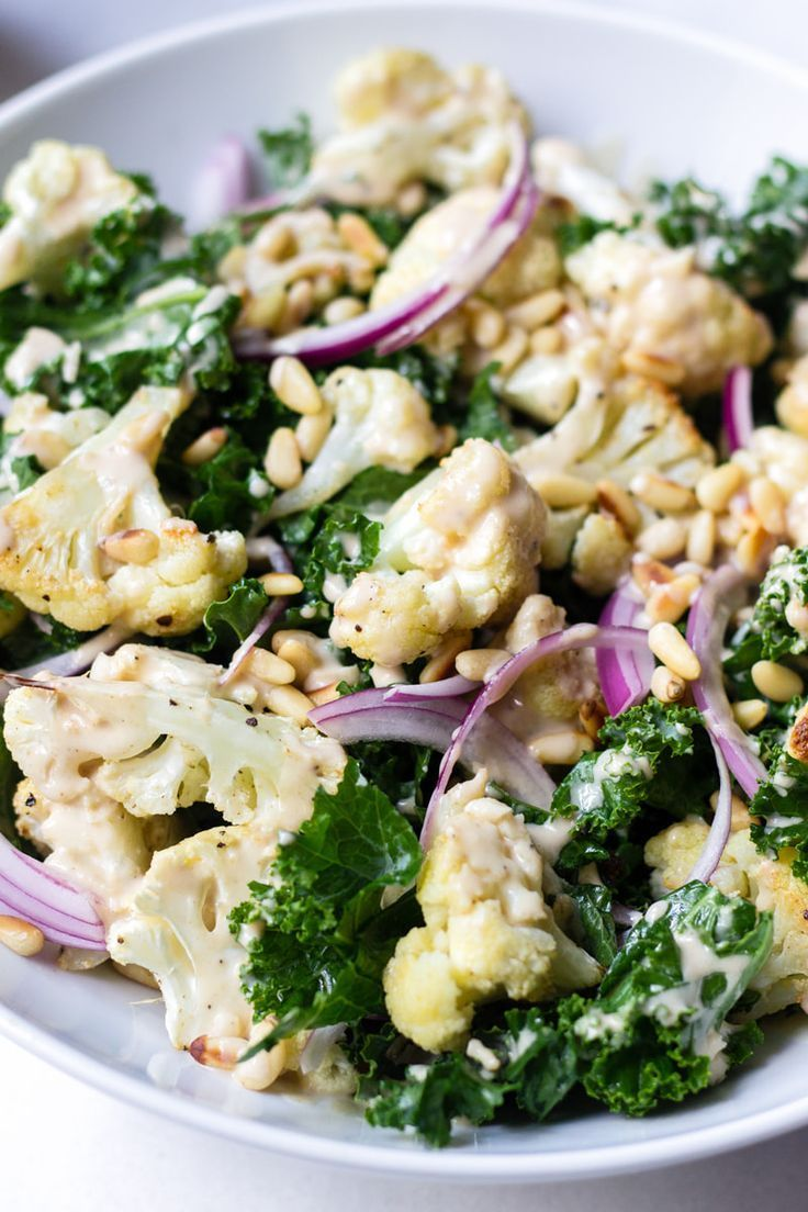 Photo of Roasted Cauliflower and Kale Salad with Lemon Tahini Dressing