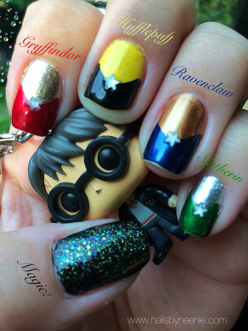 Easy Harry Potter nail art for the diehard fan! All house colors ...