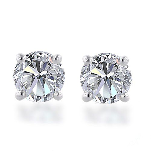f4a634ab4 10k White Gold Round Diamond Stud Earrings (1/4 cttw, J-K Color, I2-I3  Clarity) $180.00