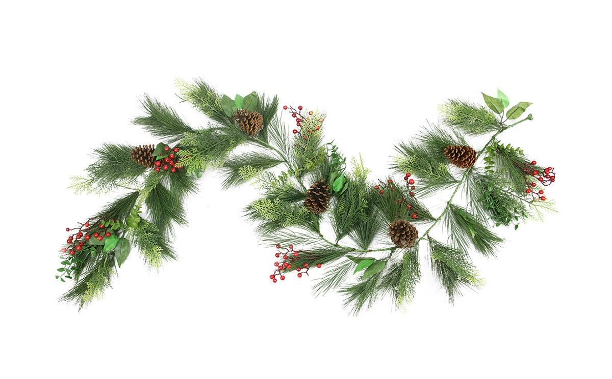 6' Long Needle Pine, Red Berry and Pine Cone Artificial Christmas Garland - Unlit