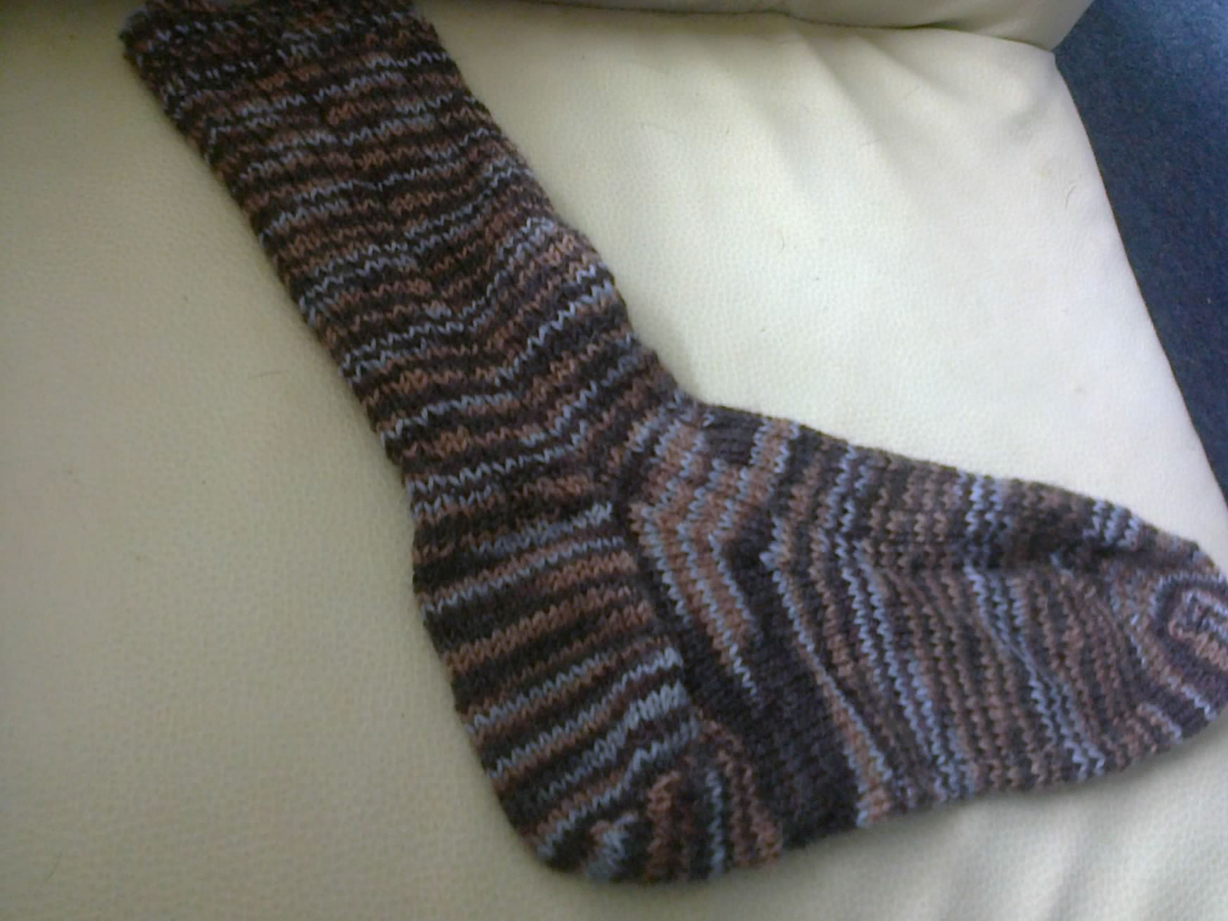 one finished sock, the other is on my needles