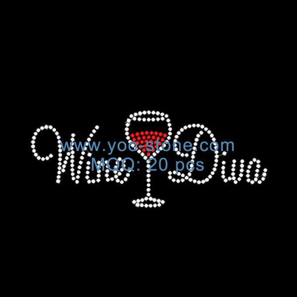 crystal wine diva rhinestone accessories wholesale wine glass iron on transfers