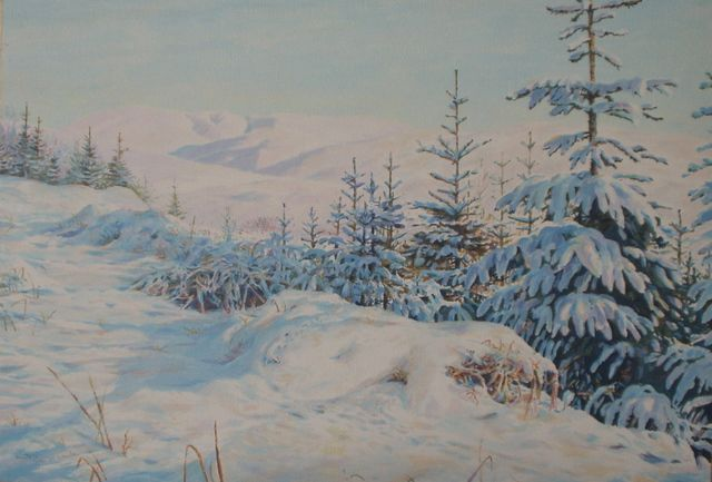 "'Swatte Fell'- Oil on board- 9""x12"". View of Swatte Fell near Moffat, Scotland, in winter"