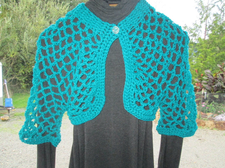 e957707708f9 Girl s 3-10 Turquoise Bolero Crocheted by SuzannesStitches