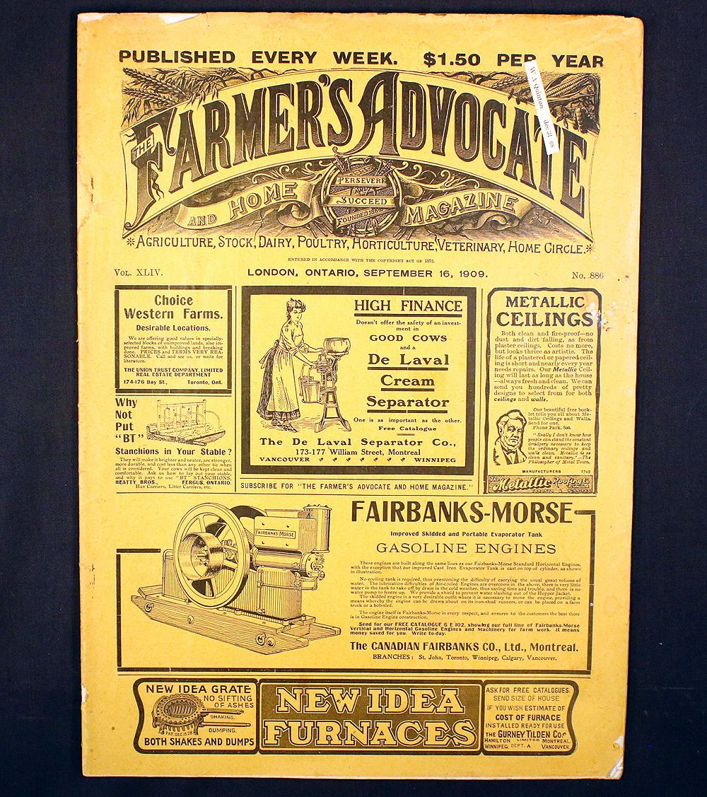 The Farmers Advocate And Home Antique Magazine London Ontario 1909 Agriculture Ebay Agriculture Ontario London