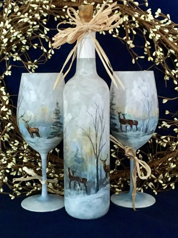 Winter scene wine glasses and upcycled bottle, hand ...