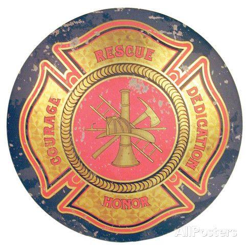 Firemen Maltese Cross Domed Sign Emaille bord bij AllPosters.nl 30*30 cm E13