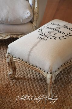 Vintage French Provincial Foot Stool European Grain Sack  Etsy in