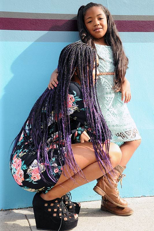 Long Individual Box Braids With Purple Highlights And Little Girl With Long Flowing -7498