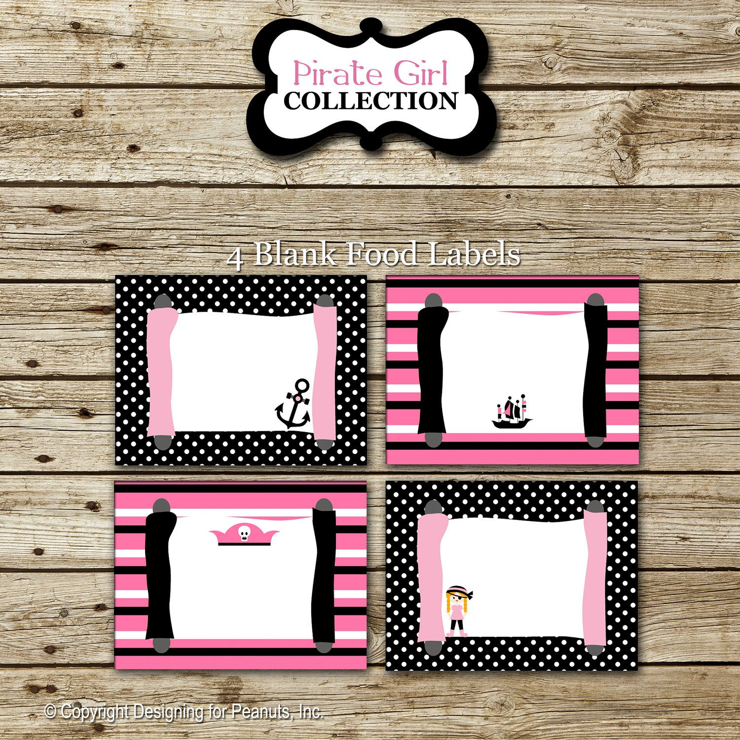 Pink pirate food labels | Arrrgh Me 1st Birthday | Pinterest ...