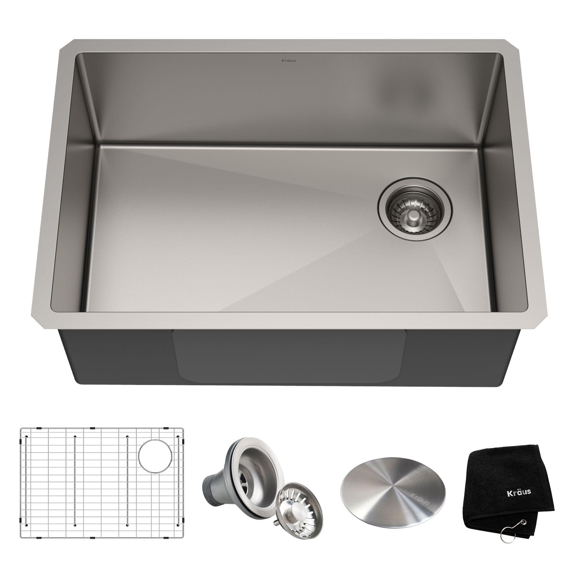 27 Undermount 16 Gauge Stainless Steel Single Bowl Kitchen Sink In 2020 Single Bowl Kitchen Sink Stainless Steel Kitchen Sink