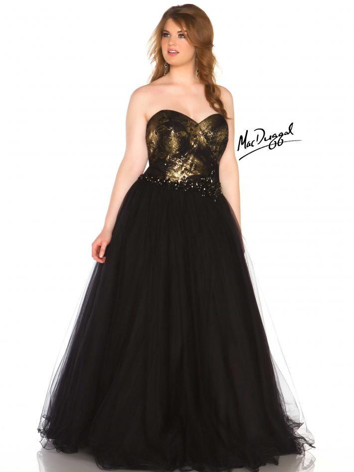 Black Strapless Plus Size Prom Dress Mac Duggal 76483r Miss Plus