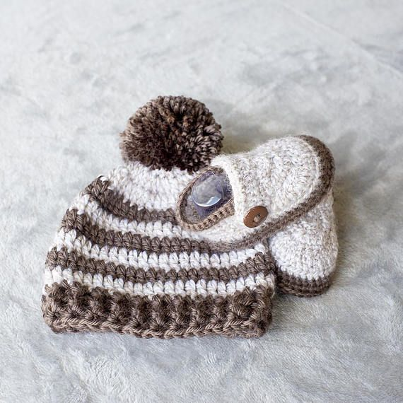 Baby Boy Set Crochet Baby Boy Hat and Booties Set Pom-pom | Crochet ...