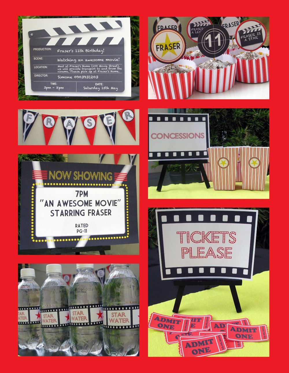Movie Theme Party Invitations & Decorations - full Printable ...
