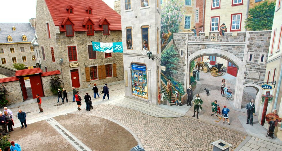 Mural Fresco On The Wall In Old Quebec City Canada Slideshow