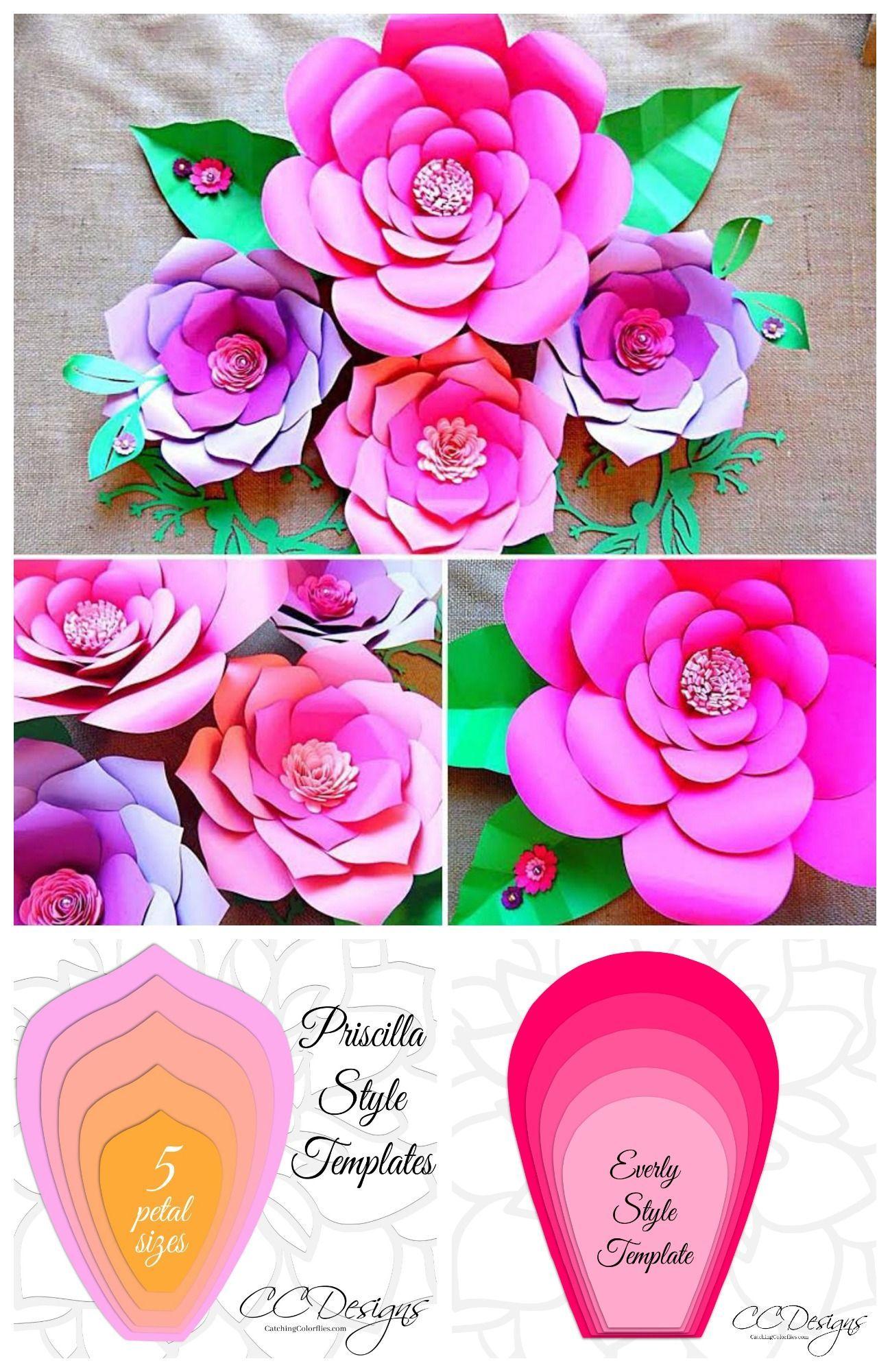 Easy Giant Paper Flower Templates - Printable PDF and SVG Flower Templates#easy #flower #giant #paper #pdf #printable #svg #templates