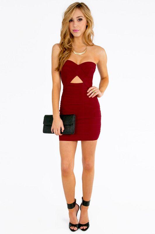 e0f29f258d0 Diana Strapless Bodycon Dress  red