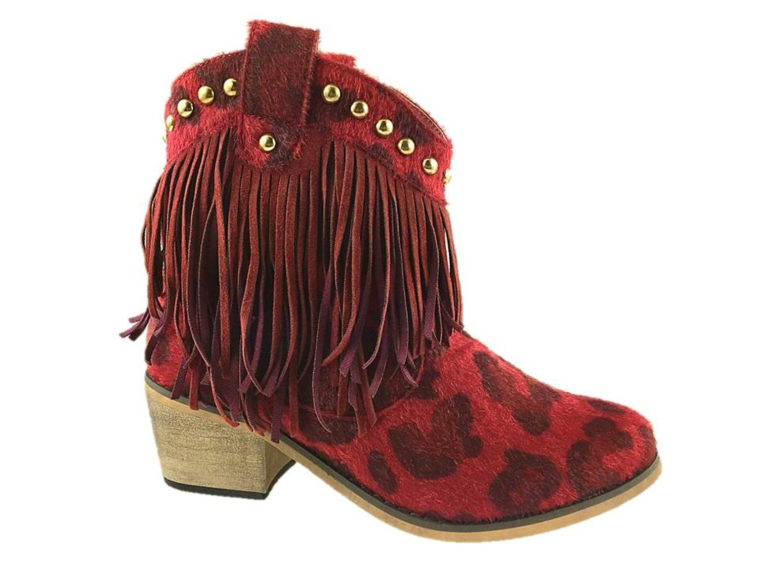 LADIES FASHION FAUX SUEDE ZIP UP COWBOY ANKLE BOOTS STUD DETAIL RED UK 3-8