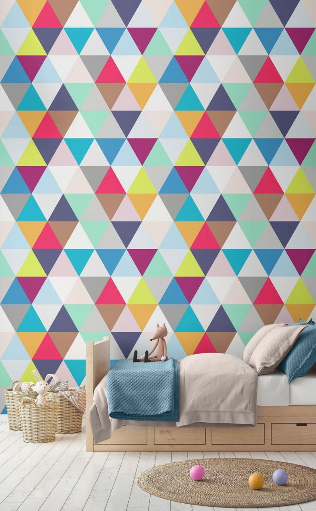 Kids Room Wallpaper Designs: Aesthetic Kid Rooms With Geometric Wall Themes