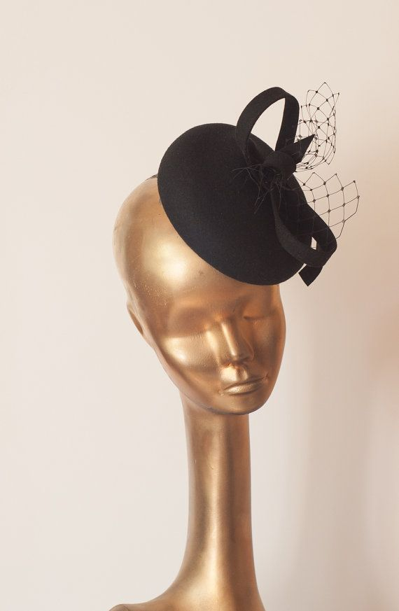 ae25c33abe34f Unique Modern Black Felt FASCINATOR with Veil Fascinator for Women by  ancoraboutique