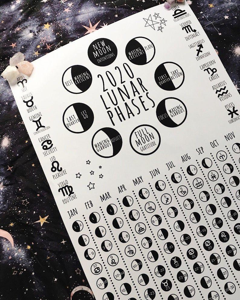 2020 Lunar Calendar Printable / Moon Phase Calendar