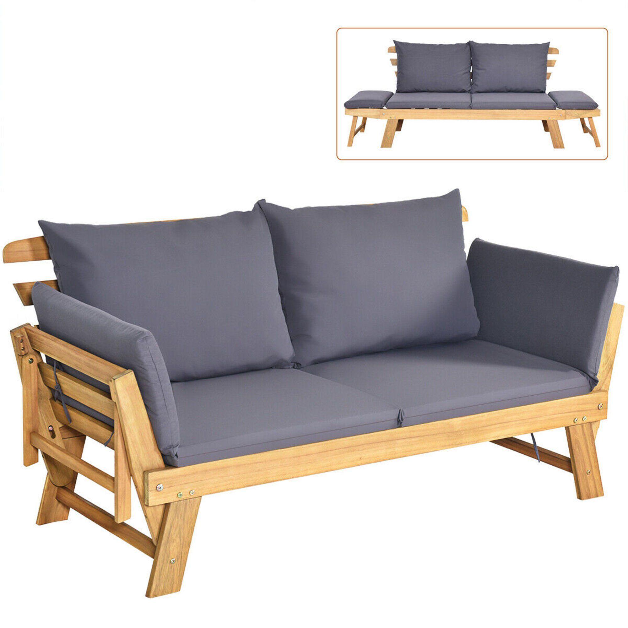 gymax adjustable patio sofa daybed