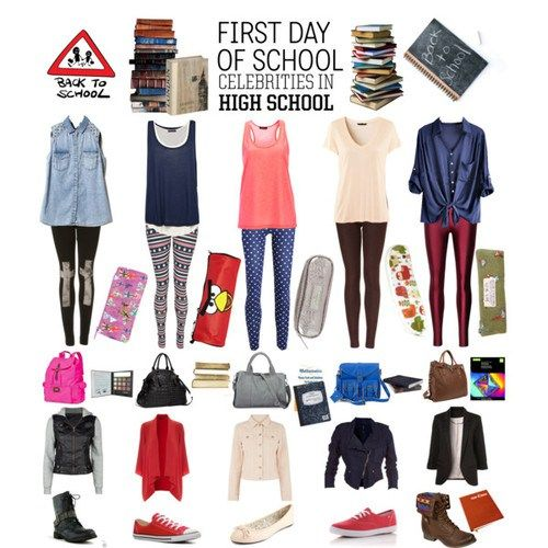 Back to School Outfit Ideas. Too bad we can\u0027t wear tanks. Or leggings. Or  jeggings. Or anything with tears/frays.or hoodies. Ahem.