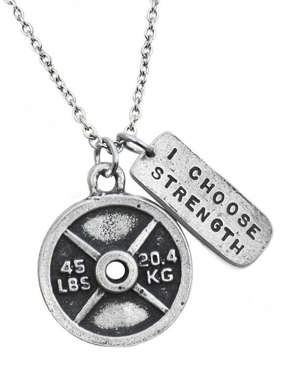 Sporting Goods Gym Fitness Bodybuilding Live Fit ™ Weight Plate Motivation Jewellery Necklace