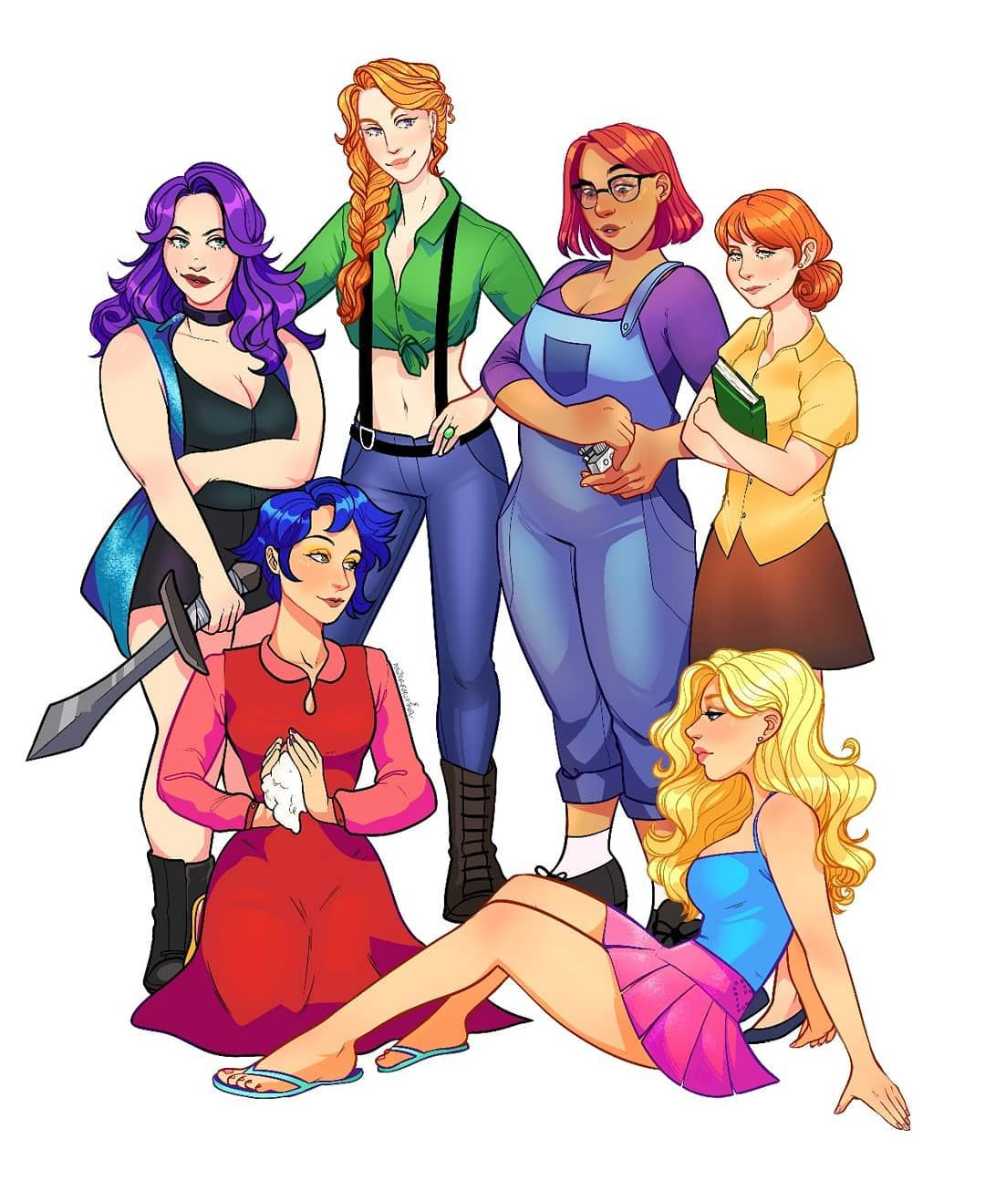 Stardew Valley art > The Bachelorettes of Pelican Town