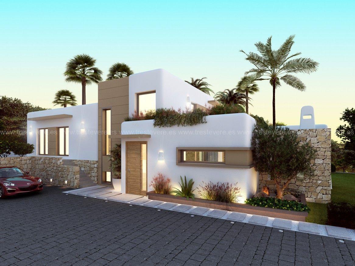 Vivienda ibicenca 3d 01 exteriores en 2019 casa - Jardines exteriores de casas modernas ...