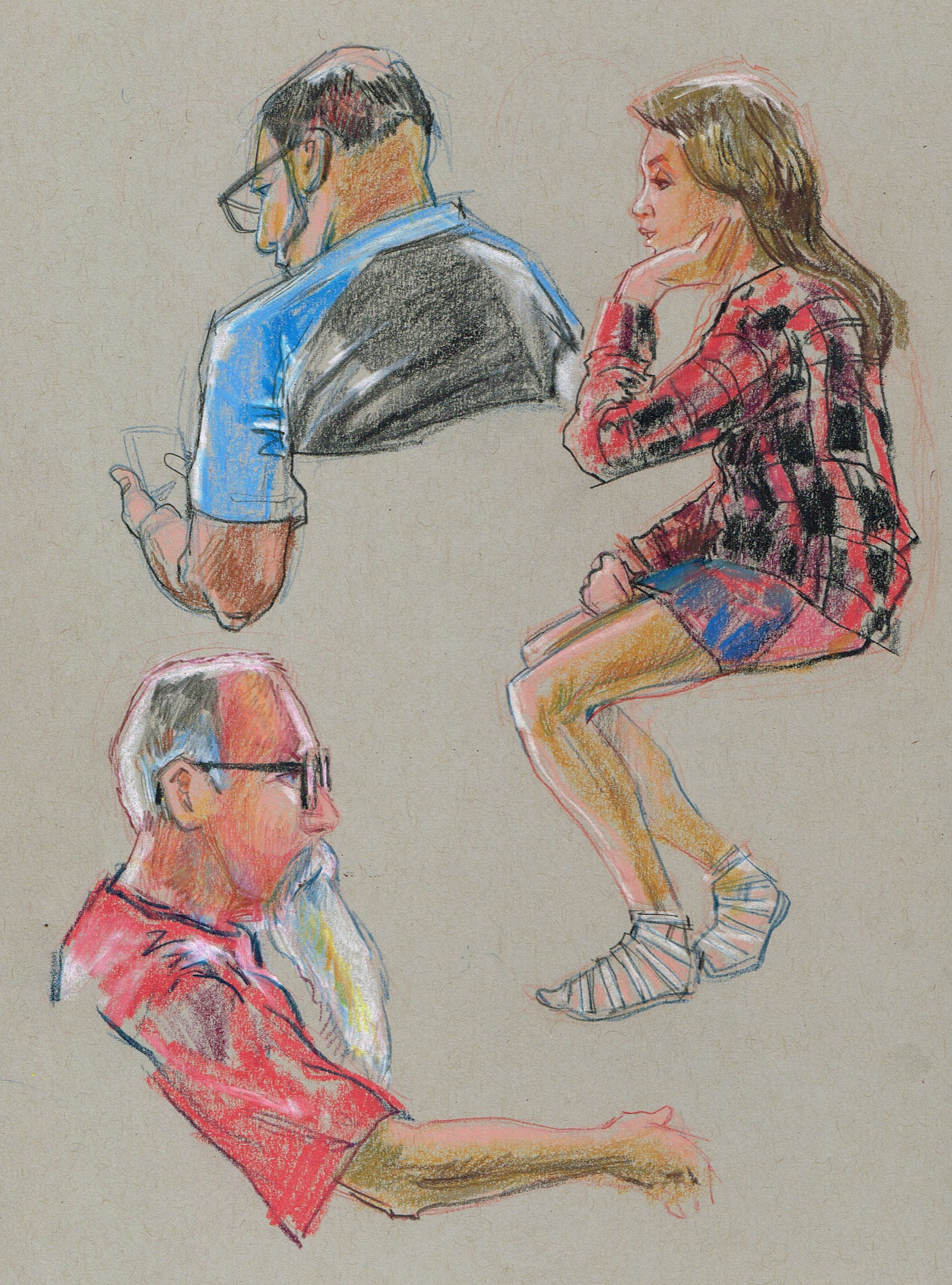 summer concert goers in the plaza colored pencil on toned sketchbook artist gary geraths [ 2345 x 3165 Pixel ]