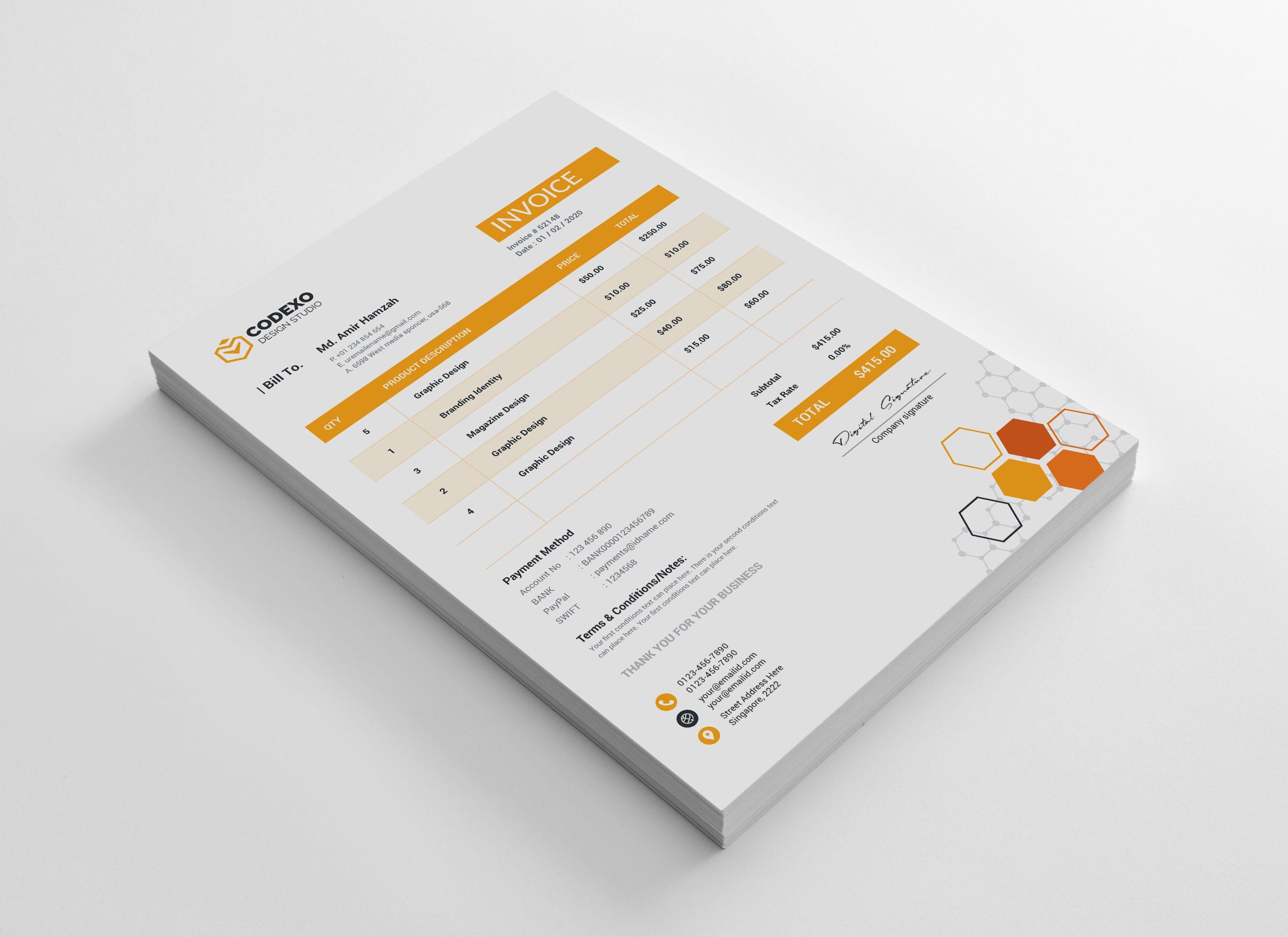 Hexagon Premium Corporate Invoice Template Graphic Templates Invoice Template Invoice Design Template Invoice Design