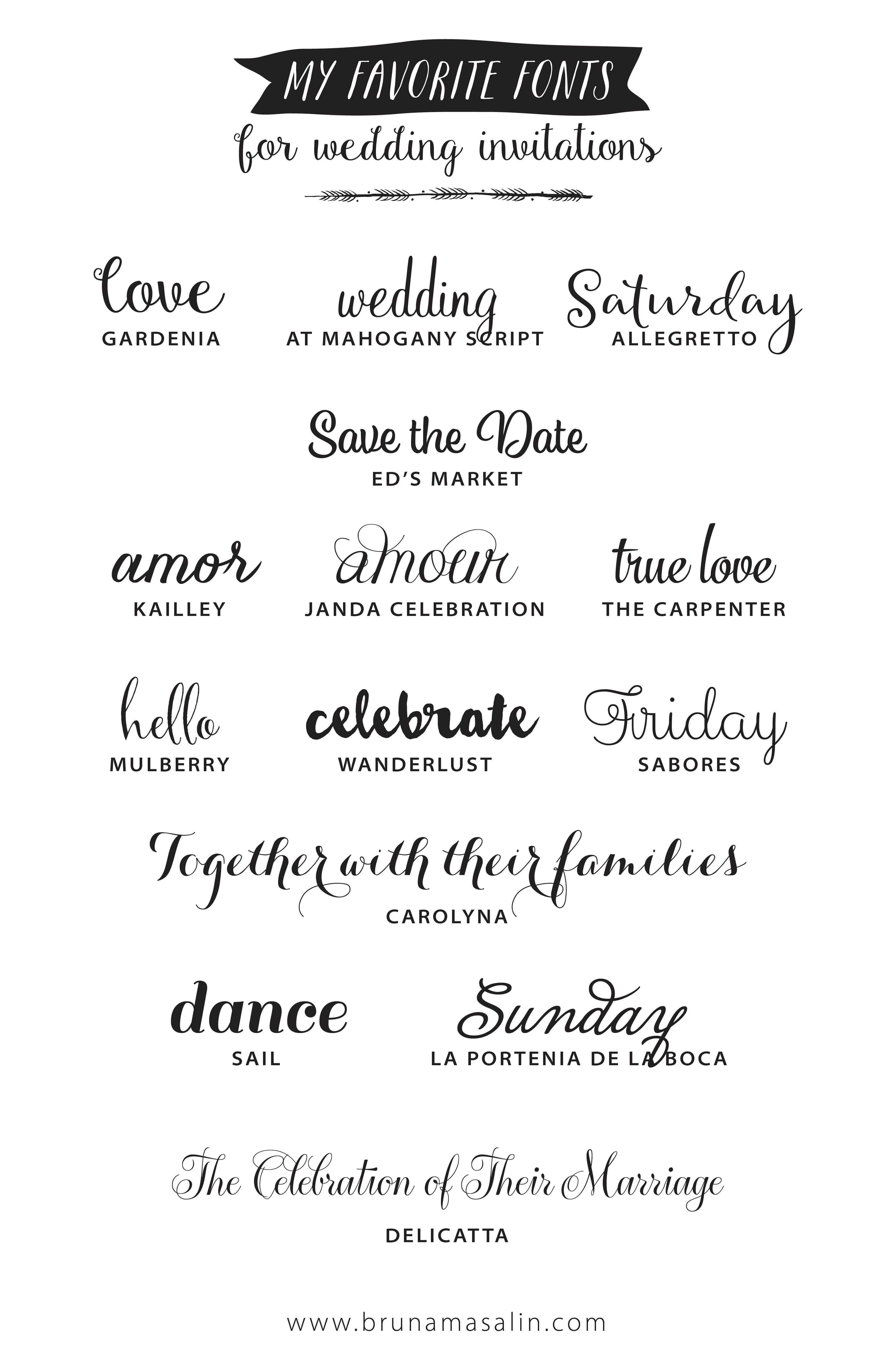 My Favorite Fonts For Wedding Invitations Wedding Invitation
