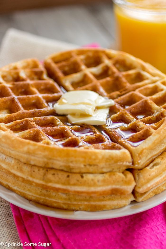 Buttery Golden Buttermilk Waffles Sprinkle Some Sugar Homemade Waffles Waffle Maker Recipes Waffle Iron Recipes