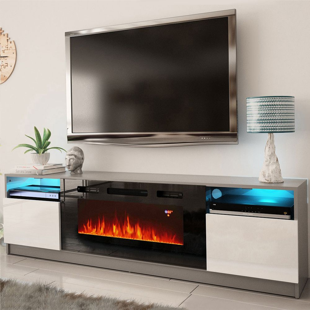 York 02 Gray White Tv Stand York Meble Furniture Tv Stands In 2020 Fireplace Tv Stand Fireplace Tv Modern Tv Stand