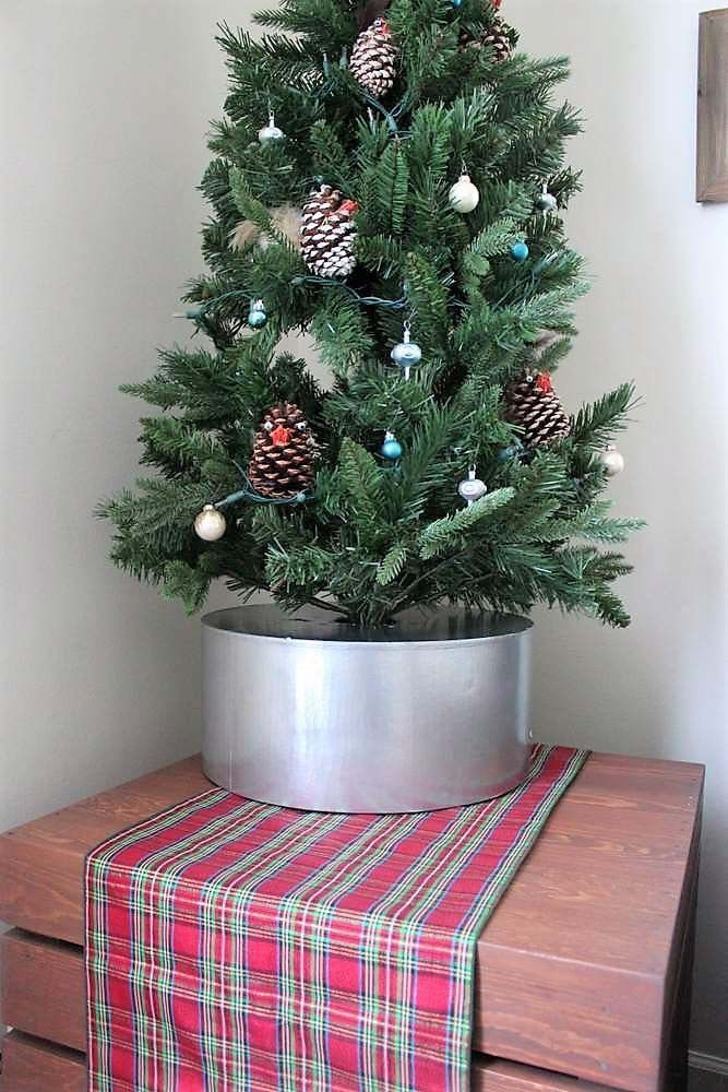Faux tin bucket diy Christmas tree collar base