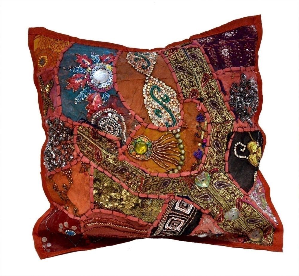 A red embroidery sequin patchwork sari vintage pillow cases cushion