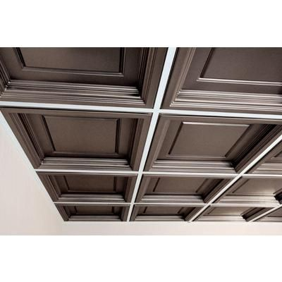 Ceilume - Madison Faux Tin Coffered Ceiling Tile, 2 Feet x 2 Feet Lay-in only - V3-MAD-22PBR - Home Depot Canada
