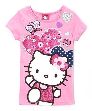 Pink Navy Dot Hello Kitty Tee Girls Pink Hello Kitty Hello Kitty Kitty